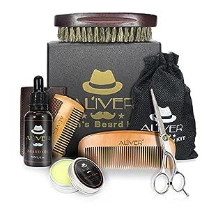ckground Bartpflegeset für Männer, Herren-Bartpflegeset, einschließlich Schnurrbartwachs, Kämme, Bartbürste, Bartöl und Schere