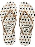 Womens Havaianas Slim Fresh White Rose Gold Black Polka Dot Flip Flops Sandals
