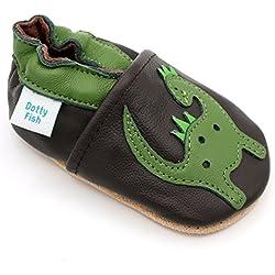 Dotty Fish Zapatos de Cuero Suave Para Bebés - Niños - Marrón y Dinosaurio Verde - 25