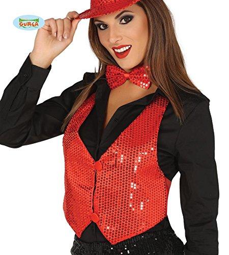 (Rote Pailletten Weste für Damen Karneval Fasching Silvester Party Gr. M/L)