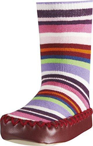Playshoes Kinder-Hüttenschuhe aus Baumwolle, Hausschuhe für Mädchen und Jungen mit rutschhemmender Sohle, gestreift