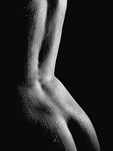 Artland Echt-Glas-Wandbild Deco Glass Jochen Schönfeld Schöner nasser Rücken einer nackten Frau in Nahaufnahme vor schwarzem Hintergrund Liebe & Erotik Frau Foto Schwarz/Weiß 80 x 60 x 1,1 cm B2YH