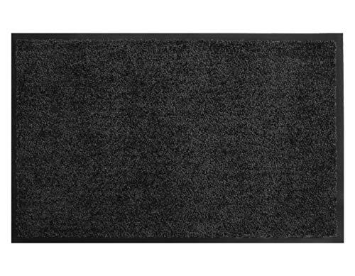 Primaflor - Ideen in Textil Schmutzfangmatte CLEAN – Schwarz 40cm x 60cm, Waschbare, Rutschfeste, Pflegeleichte Fußmatte, Eingangsmatte, Küchenläufer Matte, Türvorleger für Innen & Außen