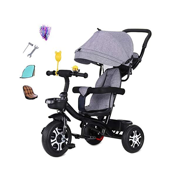 3 In 1 Childrens Tricycles 12 Months To 5 Years Stable Seat Can Be Adjusted Back Kids Tricycle Heigh Adjustable Handlebar Folding Sun Canopy Child Trike Maximum Weight 25 Kg,Gray BGHKFF ★{Material}: High carbon steel frame + environmentally friendly plastic, suitable for children from 1 to 5 years old, maximum weight 25 kg ★{3 in 1 multi-function}: Convertible to stroller and tricycle. Remove the hand putter and awning as a tricycle. ★{Safety Design}: Gold triangle structure, not easy to turn side down, skin-friendly safety Oxford cloth fabric, 360° safety fence, 3 adjustable awnings, effectively block UV rays, rear wheel double brakes, lock rear wheel 1