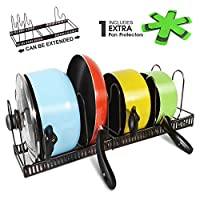 Expandable Pan Organizer Rack with 3 Pan Protector Holds 7 Pans & Lids Adjustable Cookware Rack for Kitchen Organization and Storage Masthome