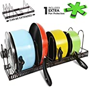 Expandable Pan Organizer Rack with 3 Pan Protector Holds 7 Pans & Lids Adjustable Cookware Rack for Kitchen Organization and