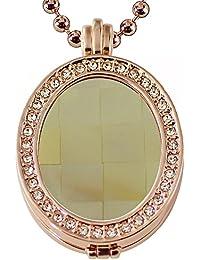 Eligo Coins–Mujer ovalado Coin con bañada coinfassung con circonita y cadena Set–epmsp045