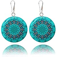 Turquoise Blue Drop Earrings Mandala Resort for Woman for Holiday Gift By Dragon Porter