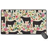 Show Steer Cows Farm Barn Florals Design Gaming Mouse Pad, Almohadillas para Ratones largas, Antideslizantes, con Base de Goma