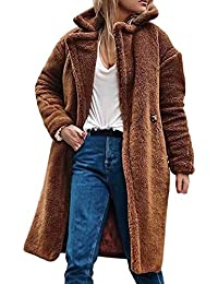 473590b37ac0 Women Faux Fur Long Coat TUDUZ Ladies Winter Warm Fuzzy Fleece Open Front  Cardigan Outwear Jacket