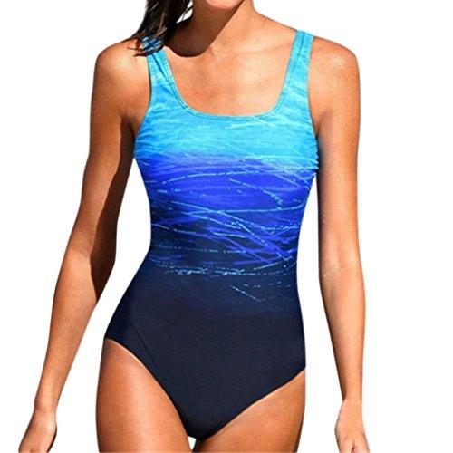 LHWY Frauen Sport Schwimmen Einteiliger Badeanzug Anzug Casual Strand Kostüm Monokini Push Up Bikini Sets Bademode (L, Blau) (Unter Dem Meer Baby Kostüme)