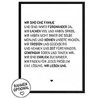 Wir sind eine Familie - Kunstdruck auf wunderbarem Hahnemühle Papier DIN A4 -ohne Rahmen- schwarz-weißes Bild Poster zur Deko im Büro / Wohnung / als Geschenk Mitbringsel zum Geburtstag etc.
