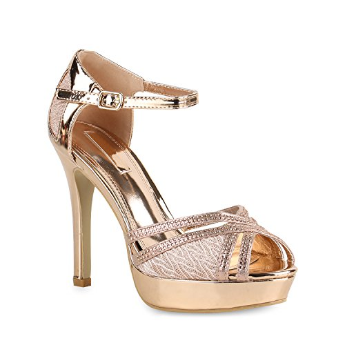 Stiefelparadies Damen Pumps Plateau Sandaletten Stiletto High Heels Riemchensandaletten Metallic Party Schuhe Hohe 154341 Rose Gold 37 Flandell -