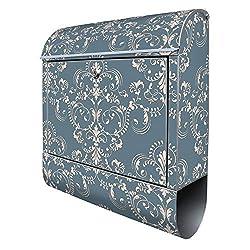 Banjado Design Briefkasten mit Motiv Royal Creme Blau | Stahl pulverbeschichtet mit Zeitungsrolle | Größe 38x47x14cm, 2 Schlüssel, A4 Einwurf, inkl. Montagematerial
