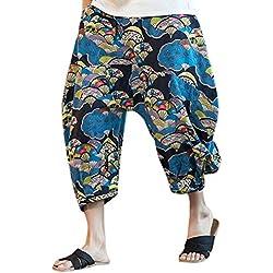 Zhhlinyuan Pantalones bombachos para hombres Impreso harén pantalones corte suelto cordón cintura elástica Mens Harem Yoga Pants Drop Crotch Trousers