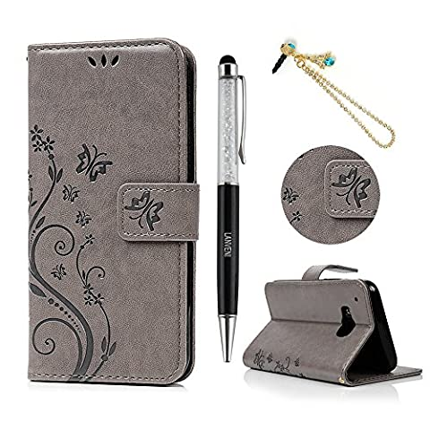 HTC One M9 Flip Case - Lanveni Butterfly Flowers Embossed Premium PU Leather Magnetic Flip Wallet Cover with Detachable Hand Strap & Card Slots & Stand Function for HTC One M9 + 1 × Blue Eiffel Tower Anti Dust Plug + 1 × Stylus Pen ( Gray