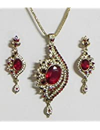 DollsofIndia Red And White Stone Studded Pendant With Chain And Earrings - Stone And Metal (EQ09-mod) - Red
