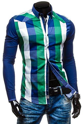 BOLF - Chemise casual – avec manches longues - à carreaux – BY MIRZAD 5767 – Homme Vert