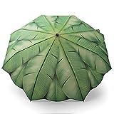 Taschen-Regenschirm grün mit Palmen bedruckt