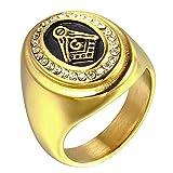 Uezenu Hommes AG Diamant Acier Inoxydable Religieux Ancien Or Bijoux Anneaux,Taille 72