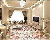Chan-Mei Benutzerdefinierte Wandbild 3D-Bodenbeläge Europäischen Rose Soft Parkett Zimmer Dekor Malerei Selbstklebende Bild 3D-Wandbilder Tapeten Hintergrundbild Tapete Fresko Wandmalerei 300cmX200cm