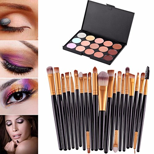 Makeup brushes set, Kit De Pinceau Maquillage Professionnel Kolylong 15 Couleurs CrèMe Visage Femme Palette Contouring Make Up Maquillage Correcteur Anti Cernes Palette Professionnel + Professionnel 20 Pcs Set Pinceaux