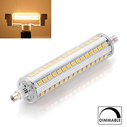 Ascher R7s LED Lampe 118mm 10W [Dimmbar, 1010Lm,Warmweiß - 118MM x 90 SMD LED Leuchtmittel - 360°