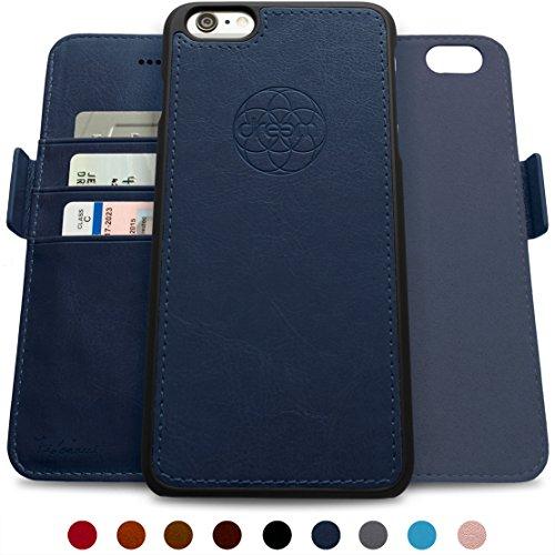 ftasche & Schutz-Hülle für iPhone 6-Plus, magnetisch herausnehmbares TPU Case, dünn bruchfest, 2 Standfunktionen, hochwertige synthetische Leder-Tasche, RFID Schutz - Königsblau ()