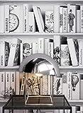 NEWROOM Tapete Weiß Bibliothek Bücher Klassisch Vliestapete Vlies moderne Design Optik Mustertapete inkl. Tapezier Ratgeber