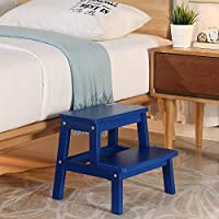 HOUCHICS 2 Steps Stool Wood Countertops Stool, Multipurpose Stepladder Stool for Bedroom/Bathroom/Toilet/Kitchen etc. with Safety Non-Slip Pads (Blue)