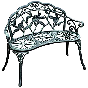Garden Metal Bench 2 Seater Rose Style Cast Iron Aluminum Park Chair Outdoor