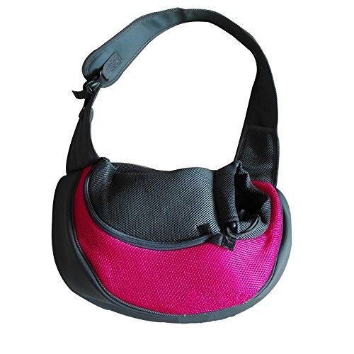 Kleine Pet Tragetasche für Hunde und Katzen, Outdoor-Umhängetasche, Reisetasche für Yorkie, Chihuahua (M: 45*13*28 cm, Rosa)