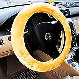 Zona Tech antideslizante decoración del coche Volante cubierta de felpa Beige Auto térmico cómodo funda para volante