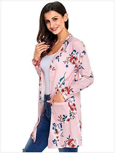 Manches Longues à Fleurs Bohème De Plage Cache-Maillot Poche Open Devant Longue Cardigan Gilet Coat Manteau Blouse Chemisier Shirt Chemise Haut Top Rose