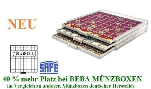 SAFE MÜNZBOXEN BEBA - MB6110 - 100 x 26,5 MM FÄCHER - für Münzen bis 26,5 mm und Münzkapseln bis Caps 20 mm - Ideal für 1, 2, 5, 10, 20 Cent 1 & 2 EURO & 1 - 50 Pf 1 DM -