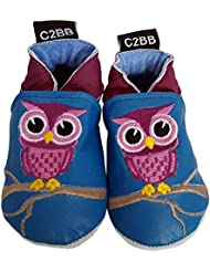 C2BB - Chaussons bébé cuir souple fille   Hibou bleu