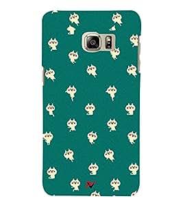 PrintVisa Designer Back Case Cover for Samsung Galaxy Note 5 :: Samsung Galaxy Note 5 N920G :: Samsung Galaxy Note5 N920T N920A N920I (Green colour Backgroung design :: Beautiful Cute cat wallpaper design :: Nice cat Design :: Simple colour design)