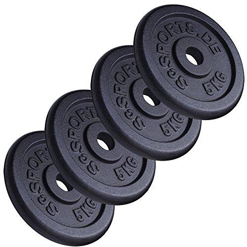 ScSPORTS Hantelscheiben-Set, 20 kg, Gusseisen, 4 x 5 kg Gewichte, 30/31 mm Bohrung Eisen-hanteln