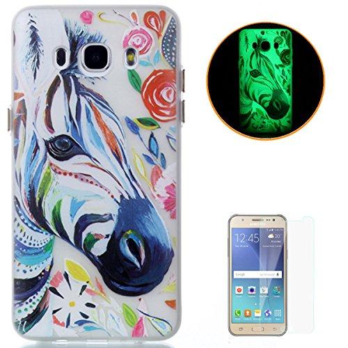 CaseHome Compatible for Samsung Galaxy J5 2016 Version/J510FN Elegant TPU Hülle Transparenter Gummi Weich Stoßfest Rutschfest Silikongel Fall Abdeckung Haut Schale-Aquarell Zebra