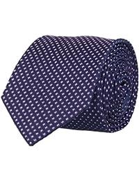 OTTO KERN Schmale Krawatte Seide Seidenkrawatte Clubkrawatte Navy Blau Kästchen 6,5 cm