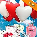 50 rote und weisse HELIUM - HERZBALLONS mit Ballonflugkarten - Komplett-Set aus Helium-Einwegflasche, Herzluftballons und Flugkarten - Gas Luftballons für bis zu 50 Hochzeitsgäste mit Flugkarten
