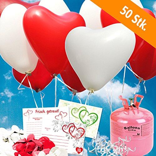 galleryy.net 50 Herzballons Hochzeit ROT & WEISS Komplettset: 50 Herzluftballons + Helium Einwegflasche + 50 Ballonflugkarten für Luftballons zur Hochzeit