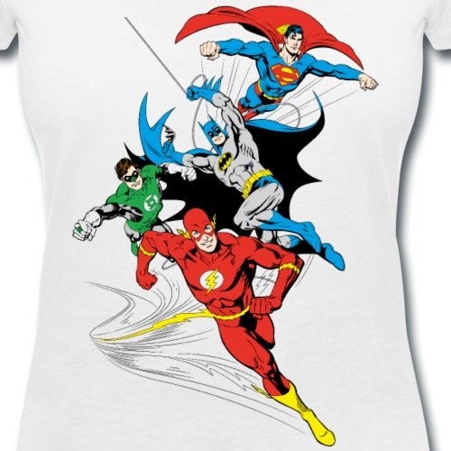 DC Comics Originals Justice League Rétro T-shirt col V Femme de Spreadshirt®‎ Blanc