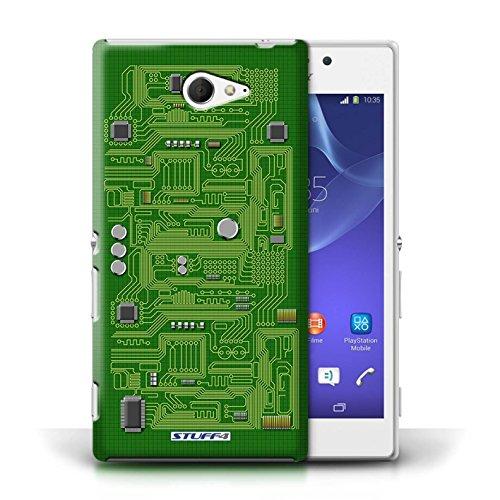 Kobalt® Imprimé Etui / Coque pour Sony Xperia M2 / Bleu conception / Série Circuit Board Vert