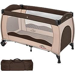 TecTake Cuna de viaje bebe plegable con bolsa de transporte - disponible en diferentes colores - (Café | no. 402417)