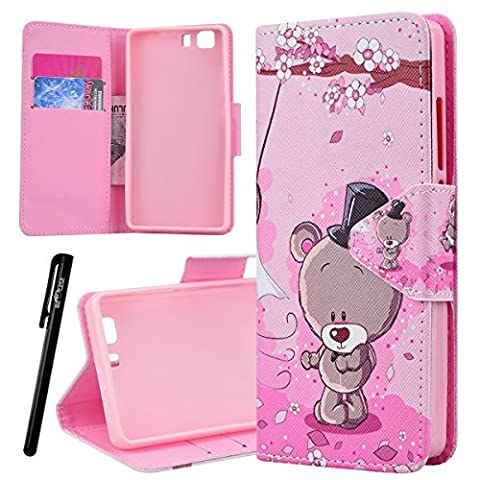 Doogee X5 X5PRO Wallet Case, We Love Case Leather Stand Flip Folio Card Holder Slot Great Pattern Cute Cover, Premium PU Protective Shock Absorption Proof Drop Defend Anti Scratch Shell for Doogee X5 X5PRO - Rose