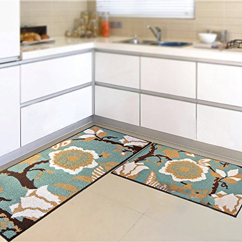 FHG Küchenmatte, Lange saugfähige Rutschfeste Teppich, Haus Badezimmer Schlafzimmer Wohnzimmer Tür Bett Teppich, kann den Teppich waschen,Blau,45 * 120cm