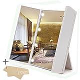 HonestEast Tri-Fold beleuchteter LED-Spiegel, tragbare und kompakte Reise Eitelkeit Spiegel mit 8 LED-Leuchten für kosmetisches Make-up, 3-Wege-Spiegel mit LED (Weiß)