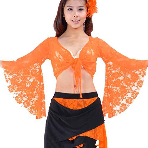DANCER Stammes-Bauchtanz Lace Butterfly Sleeve Wrap Top, Top Für Weihnachten (Farbe : Orange, größe : One Size)