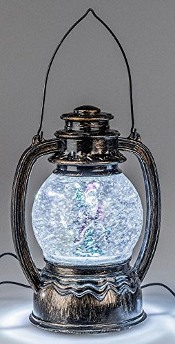 Dekojohnson Deko-Laterne Metall Acryl LED Licht Wassereffekt 23 cm 1 Stück | Weihnachtsdekoration Winterdekoration Wirbelautomatik -